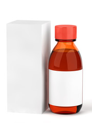 Cough syrup bottle isolated