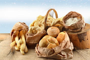 pane e grissini fondo azzurro