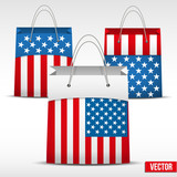 Set of Shopping bag with USA flag
