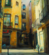 court yard in gothic quarter of barcelona, painting, illustratio