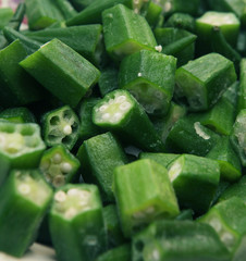 macro view of okra
