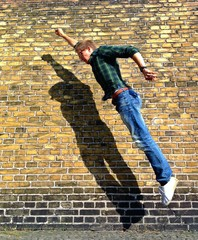 man jump wall