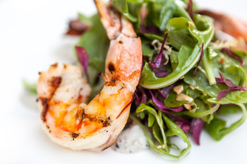 Grilled shrimp on mixed greens