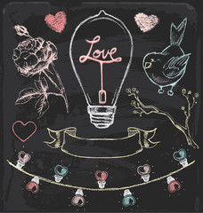 Hand Drawn Chalk Romantic Vector Set