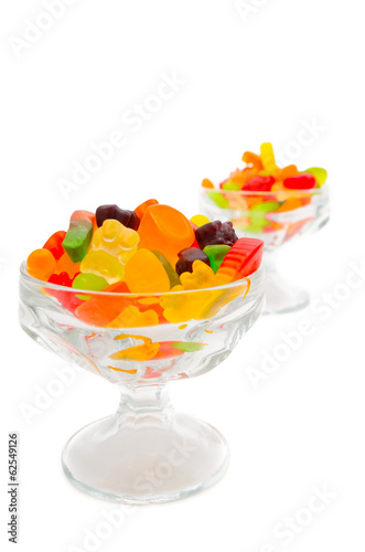 Colorful gummy bears in a cup