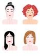 顔を押さえる女性の顔、4種類