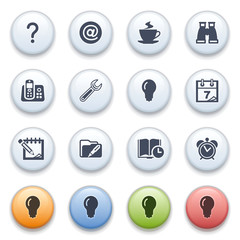 Internet icons on color buttons. Set 10.
