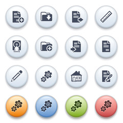 Internet icons on color buttons. Set 11.