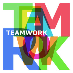 Teamwork - abstract color letters