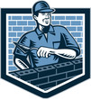 Brick Layer Mason Masonry Worker Retro