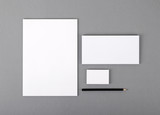 Fototapety Blank basic stationery. Letterhead flat, business card, envelope