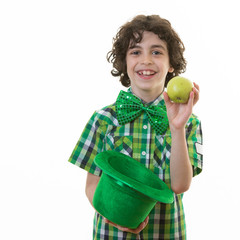 Child in St. Patrick Celebrations over white background