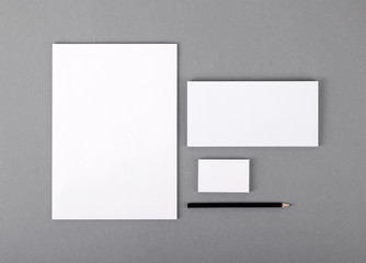 Blank basic stationery. Letterhead flat, business card, envelope