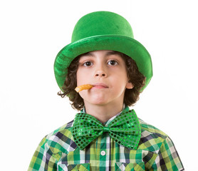 Boy having fun during St. Patrick's day