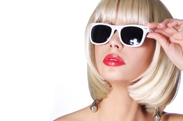 Fashion Blonde with Sunglasses. Glamorous young woman