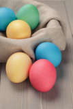 easter eggs in nest from sack textile