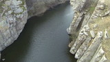 river in  canyon. Aerial top   view