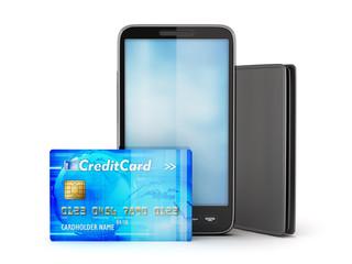Credit card, mobile phone and leather wallet on white background