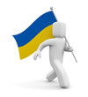 3d person with Ukrainian flag