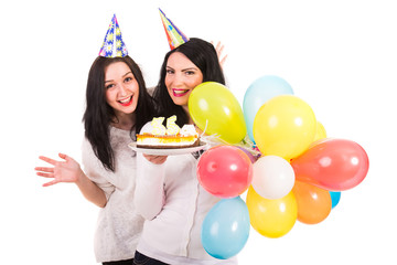 Happy women celebrate birthday
