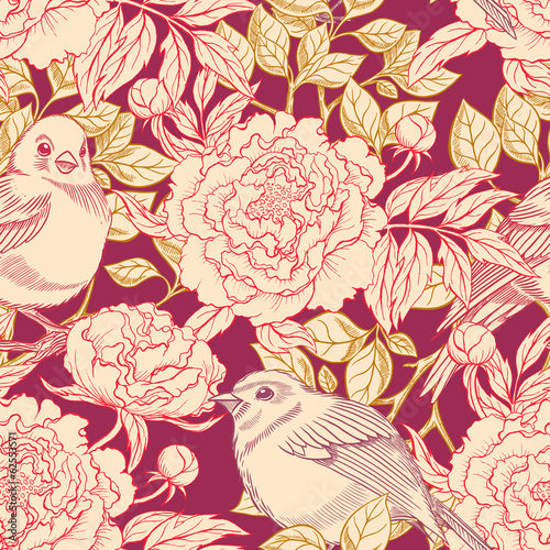 birds and peonies