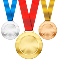 gold, silver, bronze realistic sport medals with ribbon set isol