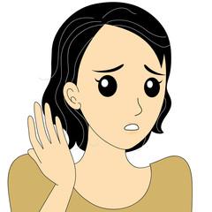 白髪に悩む女性のイラスト