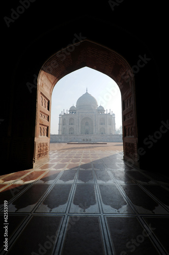 Taj Mahal from across the mosque in early morning