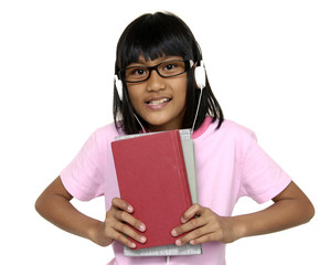 beautiful student wearing earphones and holding books