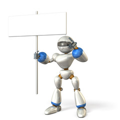 Robot indicating the message board