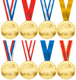 gold medal set with various photo realistic ribbon type isolated