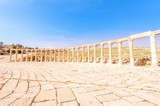 Oval Forum in the ancient Jordanian city of Gerasa, Jerash