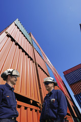 port and shipping workers, cargo containers