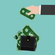 Vector Saving Money.Hand,wallet