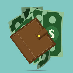 Vector wallet with Money