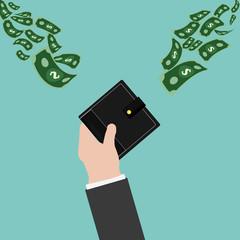 Vector Passive Income.Balck Wallet,Money,hand