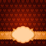 vector seamless brown pattern, gold ribbon and frame