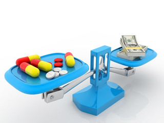 Medicines and money on scales. Isolated background