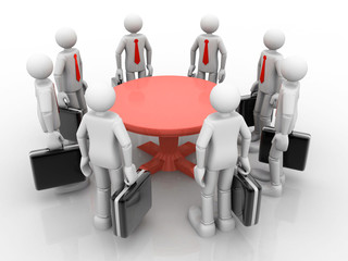 3D businessmen standing  at a round table