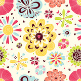 Fototapety Cute seamless pattern with flowers.
