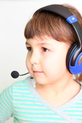 child in headphones
