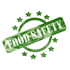 Green Weathered Food Safety Stamp Circle and Stars design