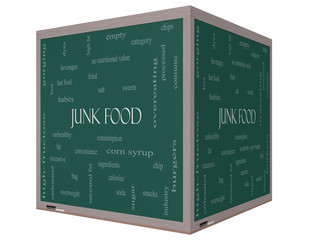 Junk Food Word Cloud Concept on a 3D cube Blackboard