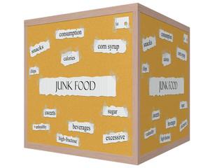 Junk Food 3D cube Corkboard Word Concept