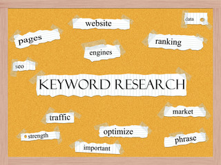 Keyword Research Corkboard Word Concept