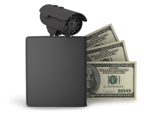 Black wallet, dollar bills and video.surveillance camera