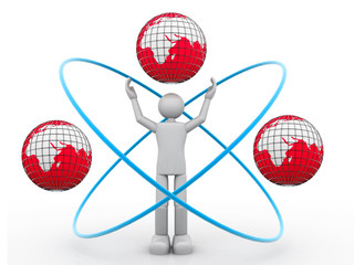 3d render man  with atom, globe