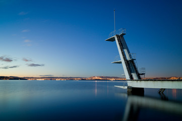 Ingjerstrand Diving Tower. Lights from Oslo behind.