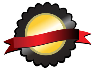 Gold prize on black, red ribbon in centre