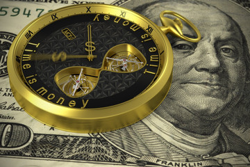 Closeup, Time and Money. Gold Tone.
